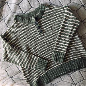 American Eagle Green Striped Sweater